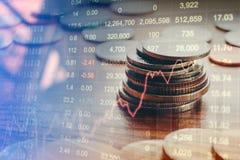 El gráfico del mercado de acción acuña, análisis financiero Abstra del indicador Imágenes de archivo libres de regalías