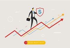 El gráfico que sube del hombre de negocios, protege el escudo Fotografía de archivo libre de regalías