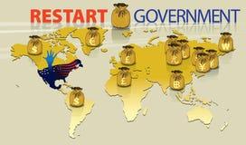 El gráfico representa evento del recomienzo del gobierno Imagen de archivo libre de regalías