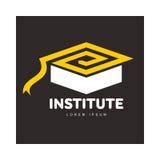 El gráfico tres coloreó al academic cuadrado, plantilla del logotipo del casquillo de la graduación Imagenes de archivo