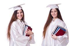 El graduado de la mujer aislado en blanco foto de archivo
