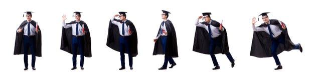El graduado del estudiante aislado en el fondo blanco fotografía de archivo libre de regalías