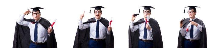 El graduado del estudiante aislado en el fondo blanco fotos de archivo libres de regalías
