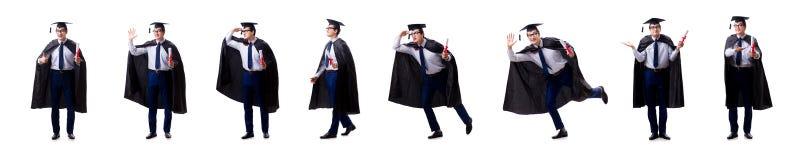 El graduado del estudiante aislado en el fondo blanco imágenes de archivo libres de regalías