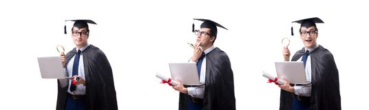 El graduado del estudiante aislado en el fondo blanco fotografía de archivo