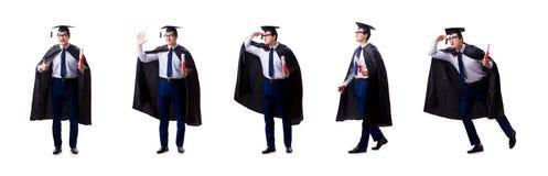 El graduado del estudiante aislado en el fondo blanco imagen de archivo