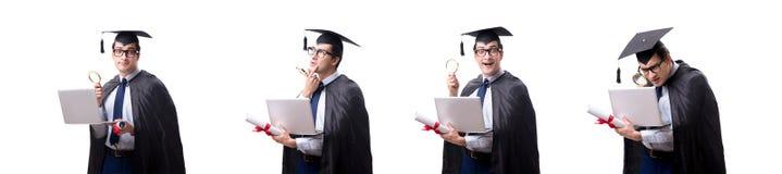 El graduado del estudiante aislado en el fondo blanco foto de archivo
