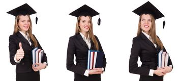 El graduado joven aislado en blanco Imágenes de archivo libres de regalías