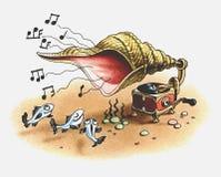 El gramófono juega la música para los pescados. Imagen de archivo