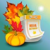 El gran diseño de octubre del otoño del vector en forma de rasga el calendario Imagen de archivo