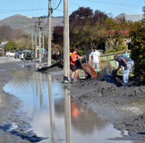 El grandes limpian, daño del terremoto de Christchurch Fotos de archivo libres de regalías
