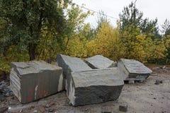 El granito empiedra la mentira en la tierra en el bosque del otoño fotografía de archivo
