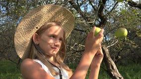 El granjero Child en el manzanar, prueba de la muchacha del país da fruto en árbol en el pueblo 4K metrajes