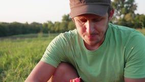 El granjero come la sandía en el campo de la granja orgánica metrajes