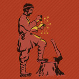 El granjero consigue el fuego con pedernal ilustración del vector
