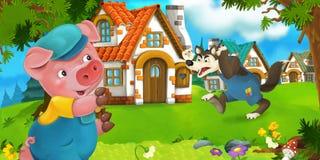 El granjero de cerdo de la escena de la historieta cerca del pueblo tradicional y del lobo enojado está entrando en su dirección