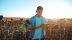 El granjero del hombre con la tableta en el campo de los trabajos del girasol va tierra de los paseos del suelo Vídeo de la cámar metrajes
