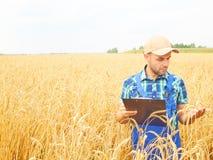 El granjero en una camisa de tela escocesa controló sus notas del campo y de la escritura Foto de archivo libre de regalías