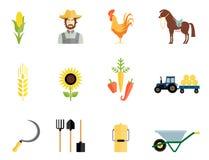 El granjero equipa iconos ilustración del vector
