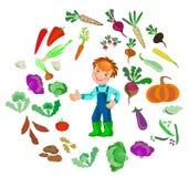 El granjero feliz del muchacho crece verduras Foto de archivo