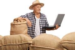 El granjero mayor con los sacos llenó de las patatas que miraban el ordenador portátil Imagen de archivo libre de regalías