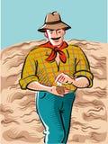 El granjero pasa a través de su campo apenas arado stock de ilustración