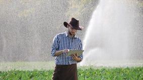 El granjero que usa demostraciones digitales de la tableta gesticula sí durante la supervisión de su plantación metrajes