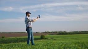 El granjero utiliza la tableta en el campo de la cebada verde joven almacen de video