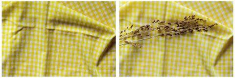 El grano arrugado paño amarillo del fondo proviene el collage Fotografía de archivo libre de regalías