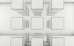El grayscale abstracto cubica el fondo Foto de archivo