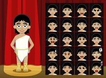 El Griego Roman Costume Cartoon Emotion de la muchacha hace frente al ejemplo del vector Fotos de archivo libres de regalías