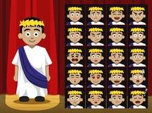 El Griego Roman Costume Cartoon Emotion del muchacho hace frente al ejemplo del vector Foto de archivo