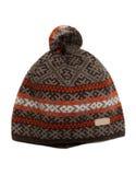 El gris del invierno hizo punto el casquillo con un modelo anaranjado Fotos de archivo