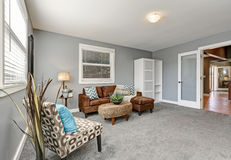 El gris entona sala de estar con el sofá marrón cómodo Foto de archivo