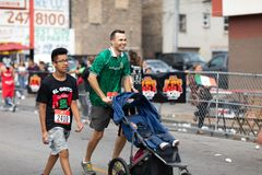 El Grito 5K. Chicago, Illinois , USA - September 9, 2018, El Grito 5K at la Villita, family run walk, men and women running in the annual 5 kilometers race royalty free stock photos