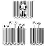 El grito, víctimas del consumerismo, códigos de barras creativos Foto de archivo libre de regalías