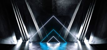 El Grunge brillante blanco azul de neón del hormigón del metal de la nave espacial de Sci Fi del triángulo que brilla intensament stock de ilustración