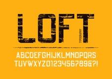El grunge condensado desván texturizó diseño de la tipografía de sans serif stock de ilustración