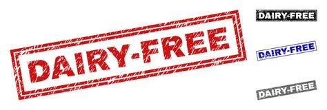 El Grunge DAIRY-FREE texturizó los sellos del sello del rectángulo libre illustration