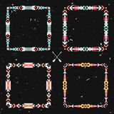 El grunge del vector fijó con los marcos étnicos geométricos abstractos stock de ilustración