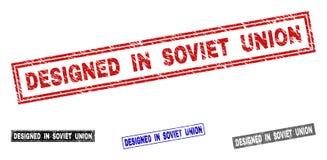 El Grunge DISEÑÓ EN UNIÓN SOVIÉTICA rasguñó los sellos del sello del rectángulo libre illustration