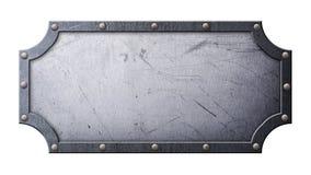El grunge gris rasguñó el letrero del metal en marco figurado en los remaches fotografía de archivo