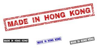 El Grunge HIZO EN HONG KONG texturizó sellos del rectángulo stock de ilustración