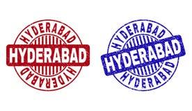 El Grunge HYDERABAD rasguñó los sellos redondos del sello stock de ilustración