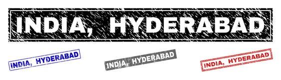El Grunge la INDIA, HYDERABAD texturizó los sellos del sello del rectángulo stock de ilustración