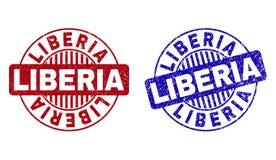 El Grunge LIBERIA texturizó los sellos redondos del sello ilustración del vector