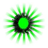 El grunge negro verde irradia el fondo Fotos de archivo