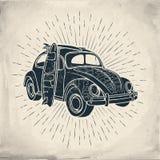 El Grunge temático del viaje del verano que practicaba surf diseñó el ejemplo del vector Foto de archivo libre de regalías