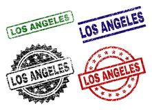 El Grunge texturizó los sellos del sello de LOS ÁNGELES ilustración del vector