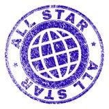 El Grunge texturizó el sello del sello de ALL STAR Imágenes de archivo libres de regalías